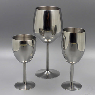 2Pcs Classic Stainless Steel Wine Glasses
