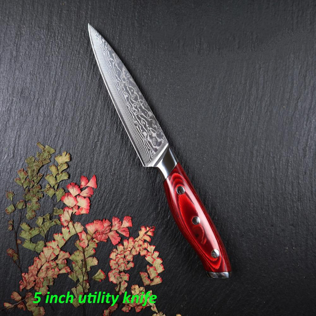5 Inch Utility Damascus Stainless Steel Chefs Knife
