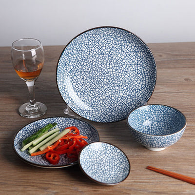 4 PC Ceramic Porcelain Ice Crack Dish Set