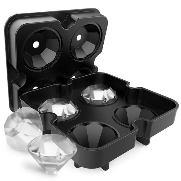 4 Cavity Diamond Shape 3D Ice Cube Mold