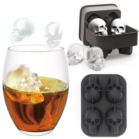 4 Grids 3D Skull Head Ice Cube Mold