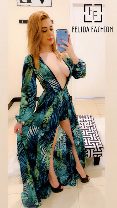 Long Sleeve Chiffon Peacock Print Romper
