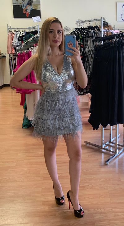 Silver Sequin Feather Dress