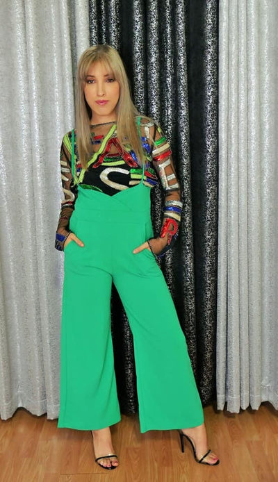 Green Long Straps High Waist Pants