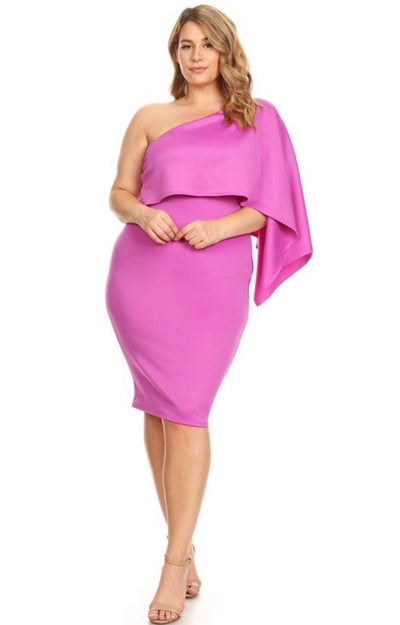 Magenta One Shoulder Midi Dress