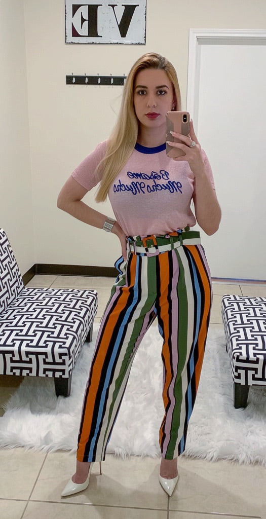 Multicolor Striped Trousers With Belt