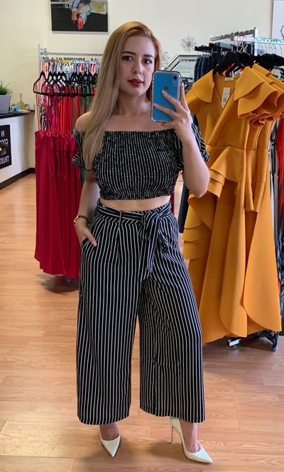 Black Striped Crop Top