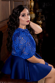 Royal Blue Lace Blouse