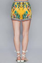 Yellow Floral Lounge Shorts