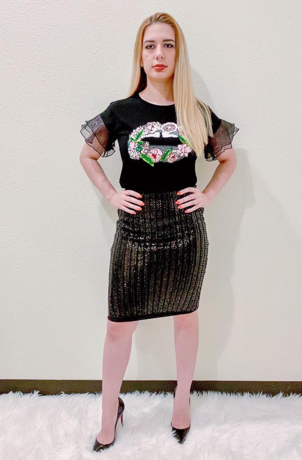 Black Sequin Lips T Shirt