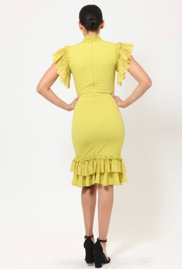 Lime Ruffle & Lace Dress