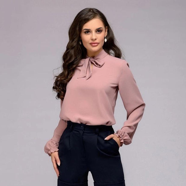 Pink Long Sleeve Bow Tie Top