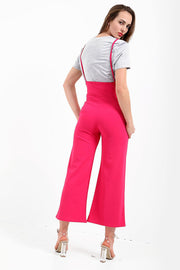 Fuchsia Long Straps High Waist Pants