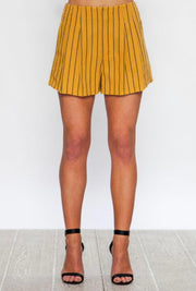 Mustard Striped Pleated Shorts