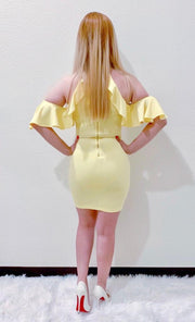 Yellow Ruffle Body-Con Dress