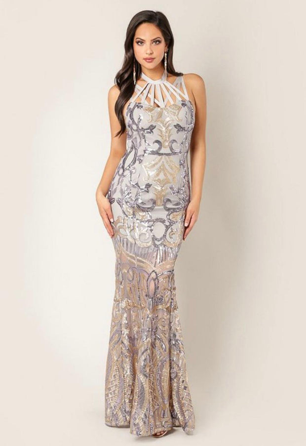 Silver High Neck Halter Sequin Maxi Gown
