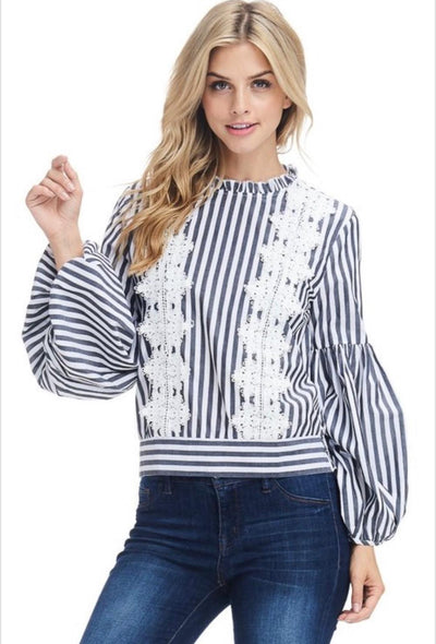 Black Striped Top With White Embroidery