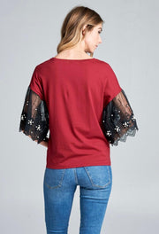 Wine T-Shirt w/Black Lace Bell Sleeves And Pearl Detail