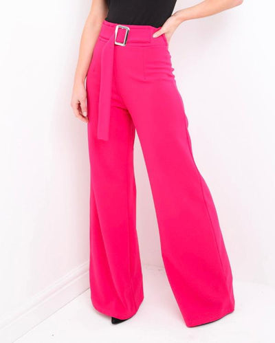 Fuchsia Belted Wide Leg Trousers