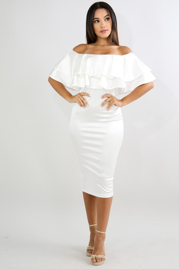 White Off Shoulder Silk Dress