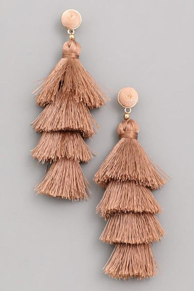 Taupe Tassel Earrings
