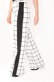 Wide Leg Grid Check Trousers