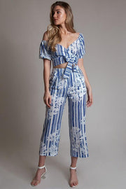 Blue Striped Floral Pants