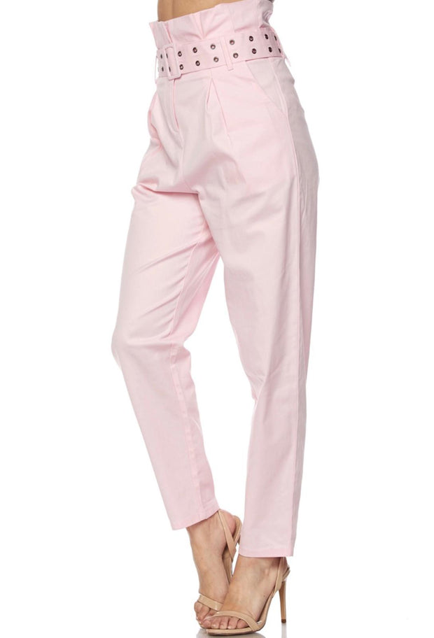 Pink High Waist Pants With Belt