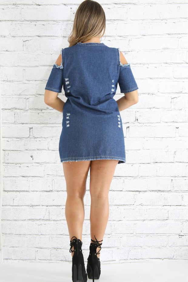 Distressed Cold Shoulder Denim Dress
