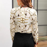 Long Sleeve Chiffon Chain Print Top