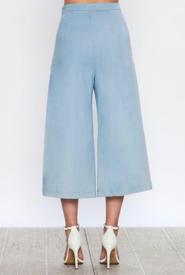 Denim Pleated Crop Pants