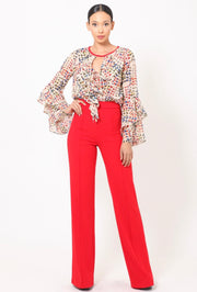 Red Jumpsuit With Multicolor Ruffle Long Sleeve Top