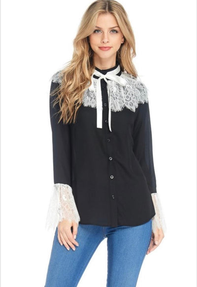 Black Button Down Blouse With White Lace Details