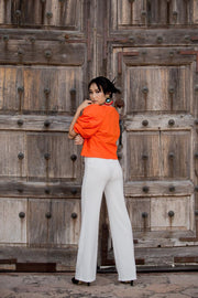 Orange Puff Sleeves Blouse