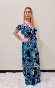 Blue/Green Leaves Dress