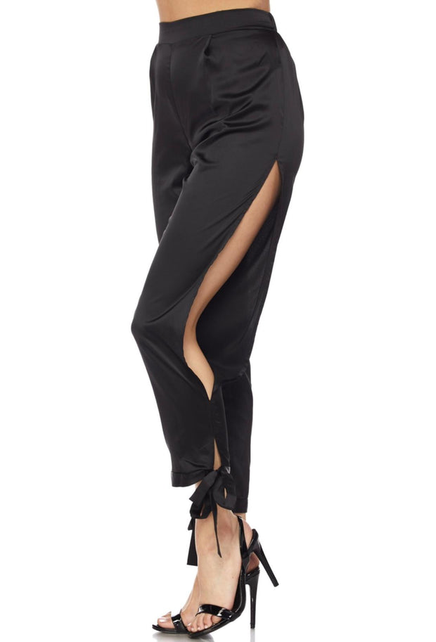 Black Side Cut Satin Pants
