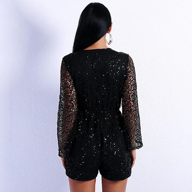 Deep V Lace Flare Sleeves Romper