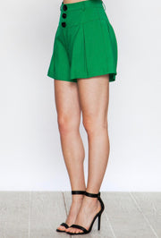 Green Pleated High Waisted Shorts