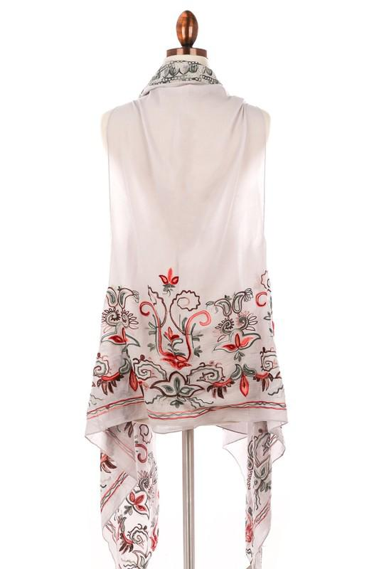Light Gray Floral Embroidered Vest
