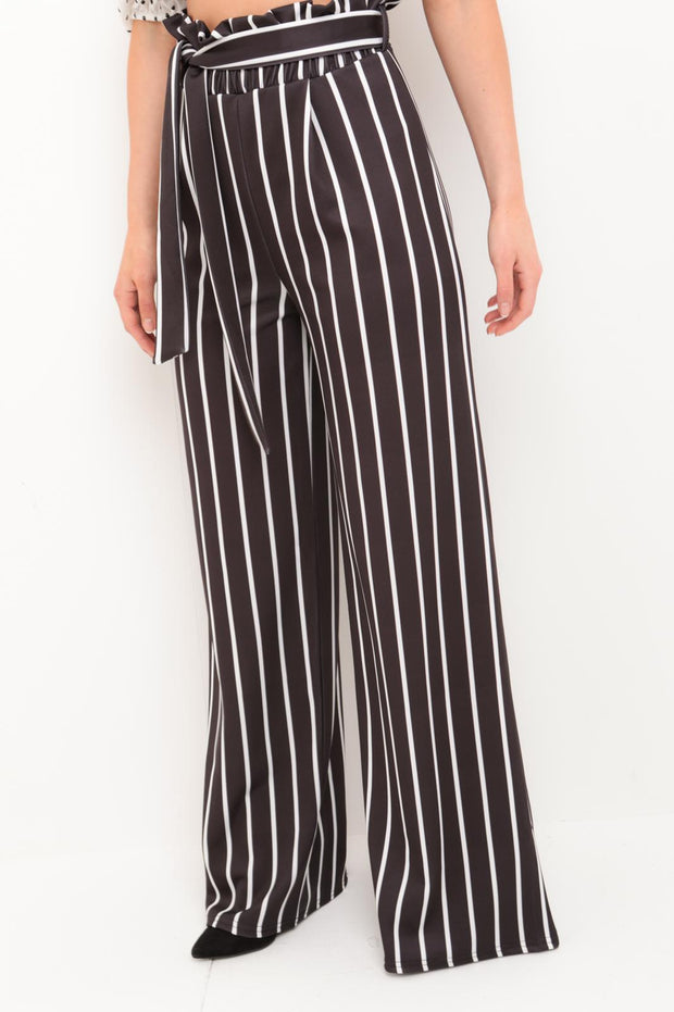 Black Striped Wide Leg Trousers
