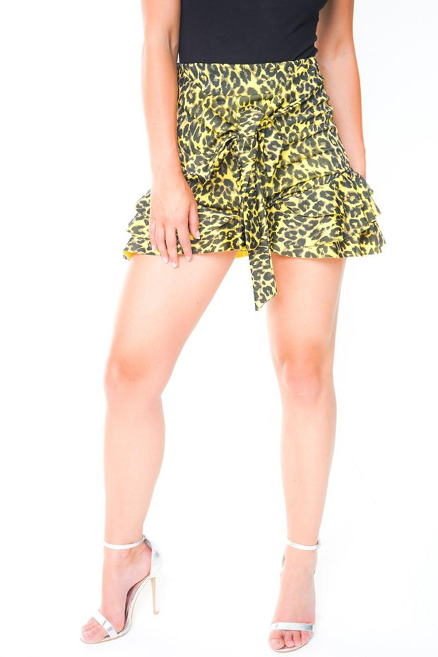 Yellow Leopard Print Belted Shorts