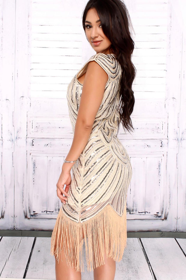 Gold Fringe Sequin Dress