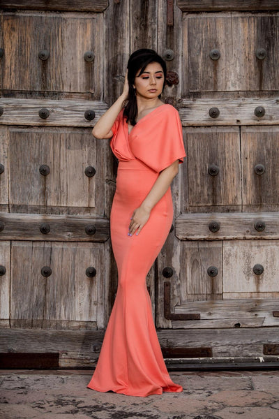 Peach Glam Maxi Dress