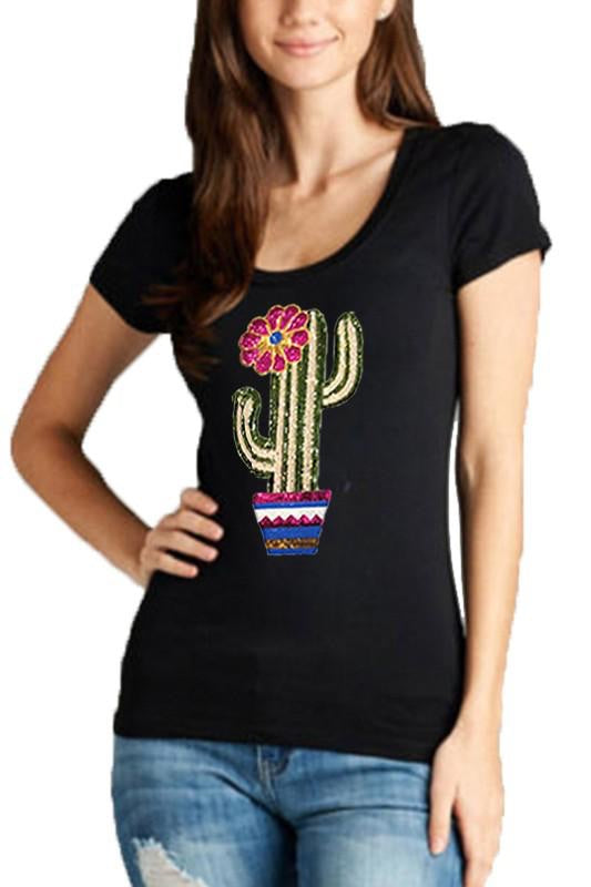 Black Sequin Cactus T-Shirt