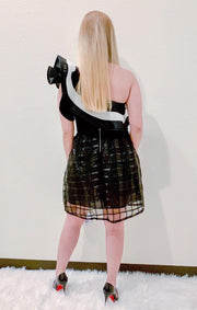 Black Grid Mesh Skirt