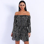 Off Shoulder Long Sleeve Sequin Romper