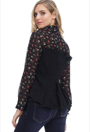 Black Button Down Blouse With Floral Print Long Sleeves