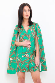 Green Chain Print Split Sleeve Dress