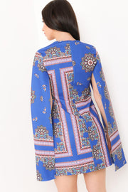 Blue Aztec Print Split Sleeve Dress