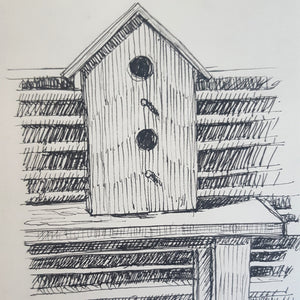 "Birdhouse Ink Drawing, 5.5"" x 8"""